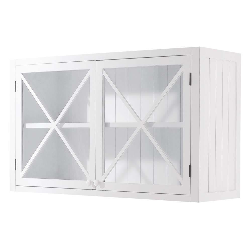 Meuble haut vitré de cuisine en pin blanc L120 Newport | Maisons du ...