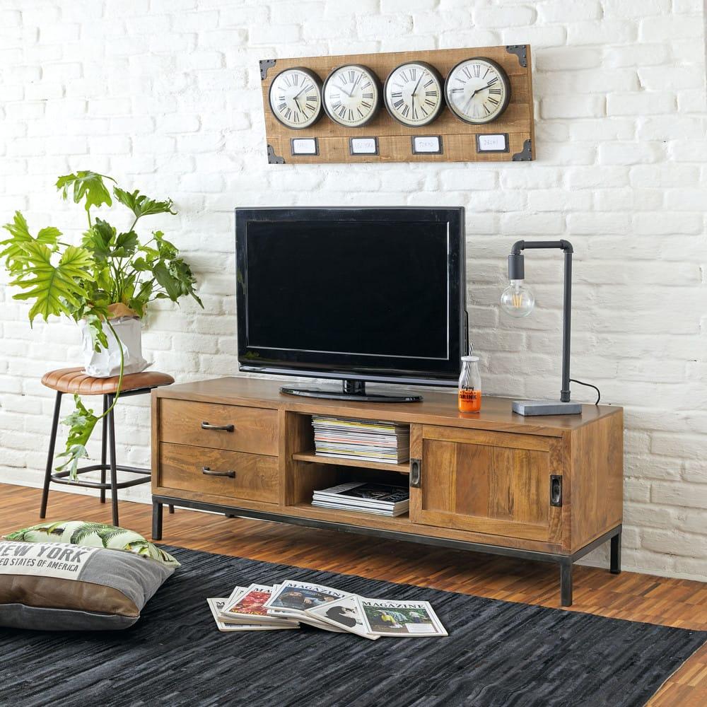 meuble tv 1 porte 2 tiroirs en manguier massif et m tal. Black Bedroom Furniture Sets. Home Design Ideas