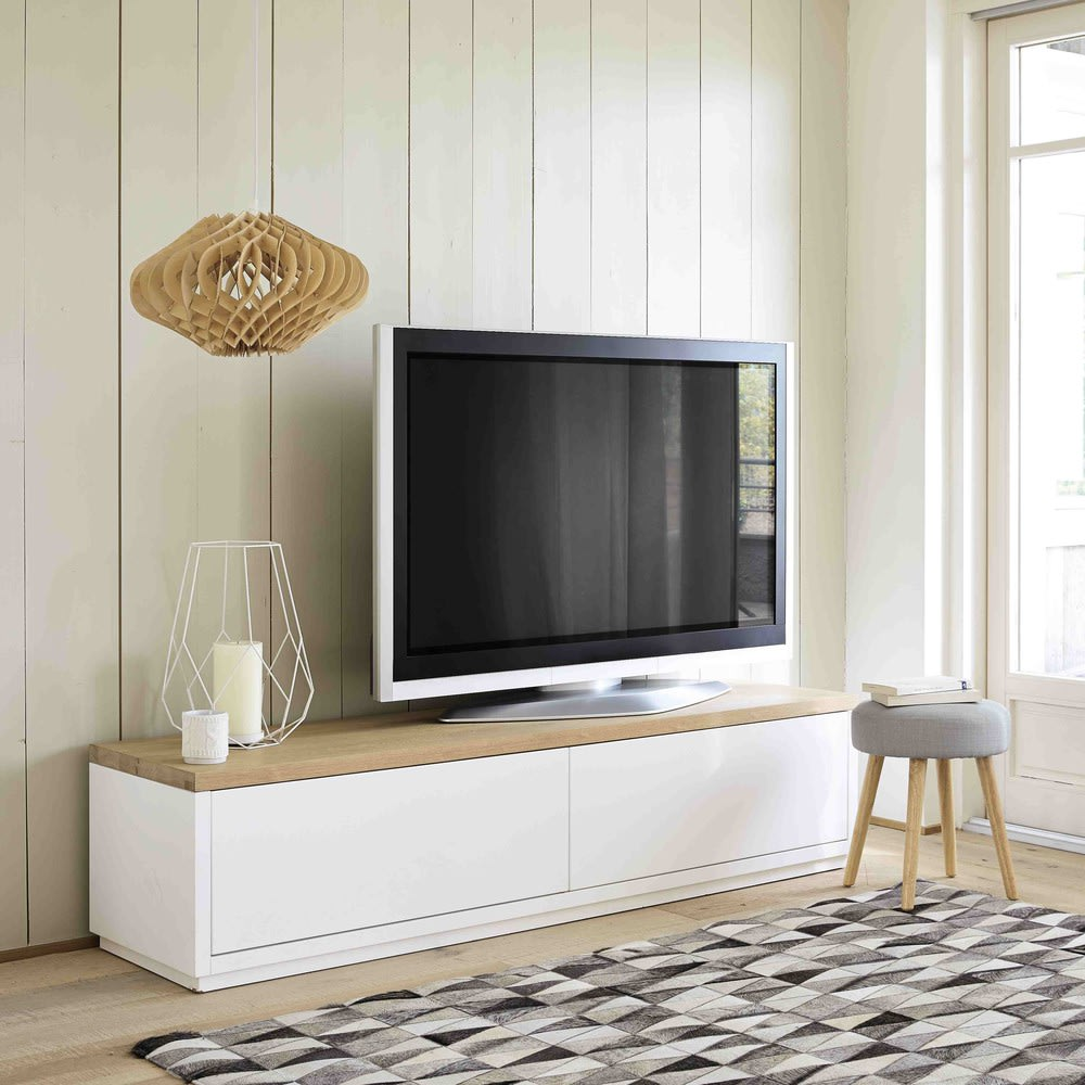 meuble tv 2 portes blanc l180 austral maisons du monde. Black Bedroom Furniture Sets. Home Design Ideas