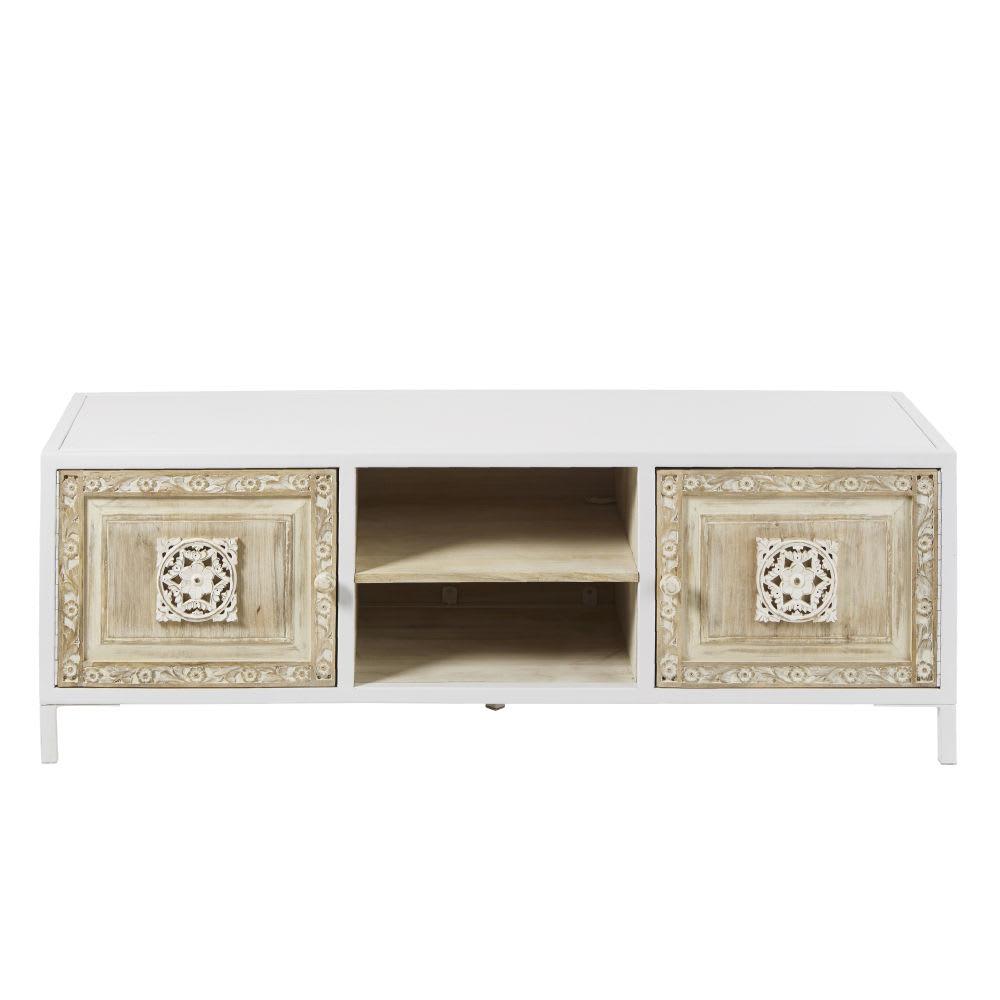 meuble tv 2 portes en m tal blanc et manguier sculpt. Black Bedroom Furniture Sets. Home Design Ideas
