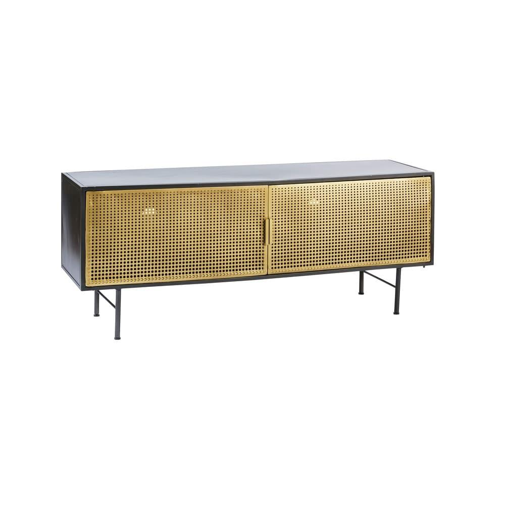 meuble tv 2 portes en m tal noir et dor maisons du monde. Black Bedroom Furniture Sets. Home Design Ideas