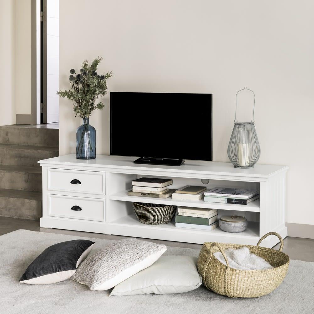 Meuble tv 2 tiroirs blanc newport maisons du monde - Meuble tv but blanc ...