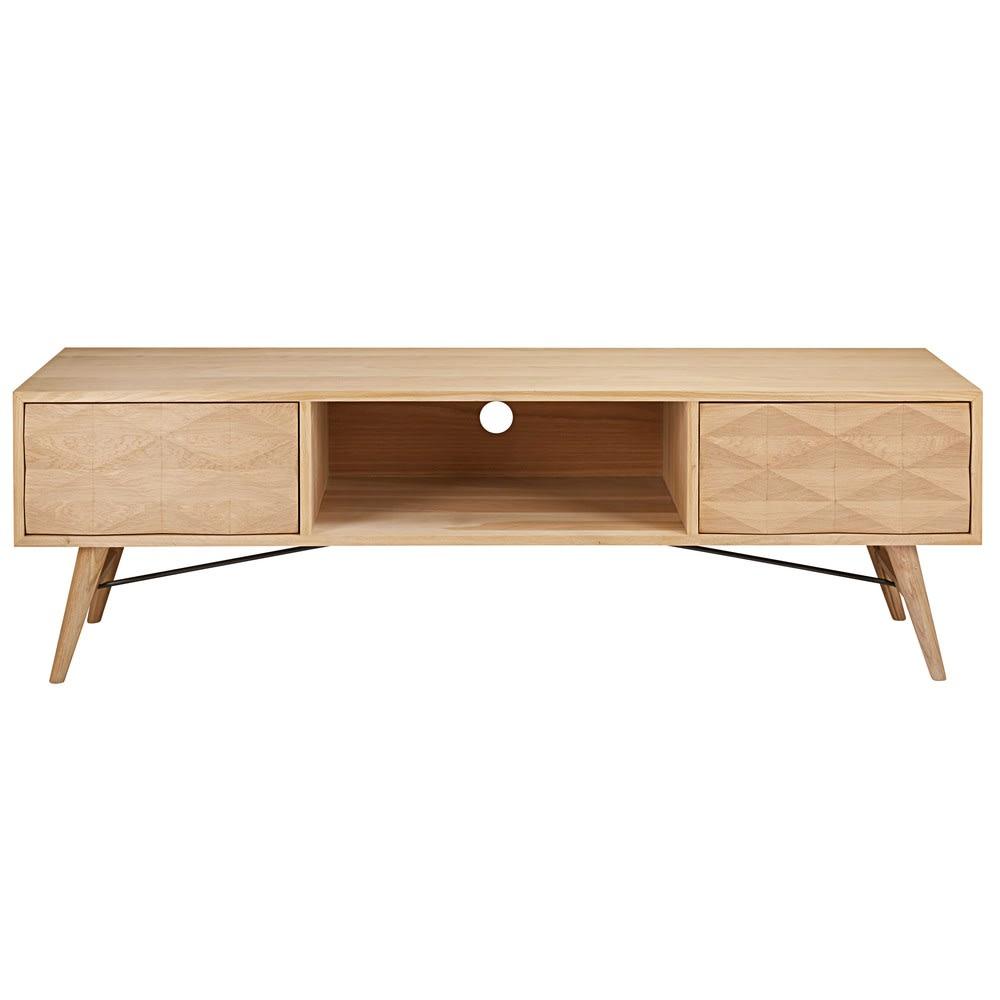 meuble tv 2 tiroirs en ch ne massif keops maisons du monde. Black Bedroom Furniture Sets. Home Design Ideas