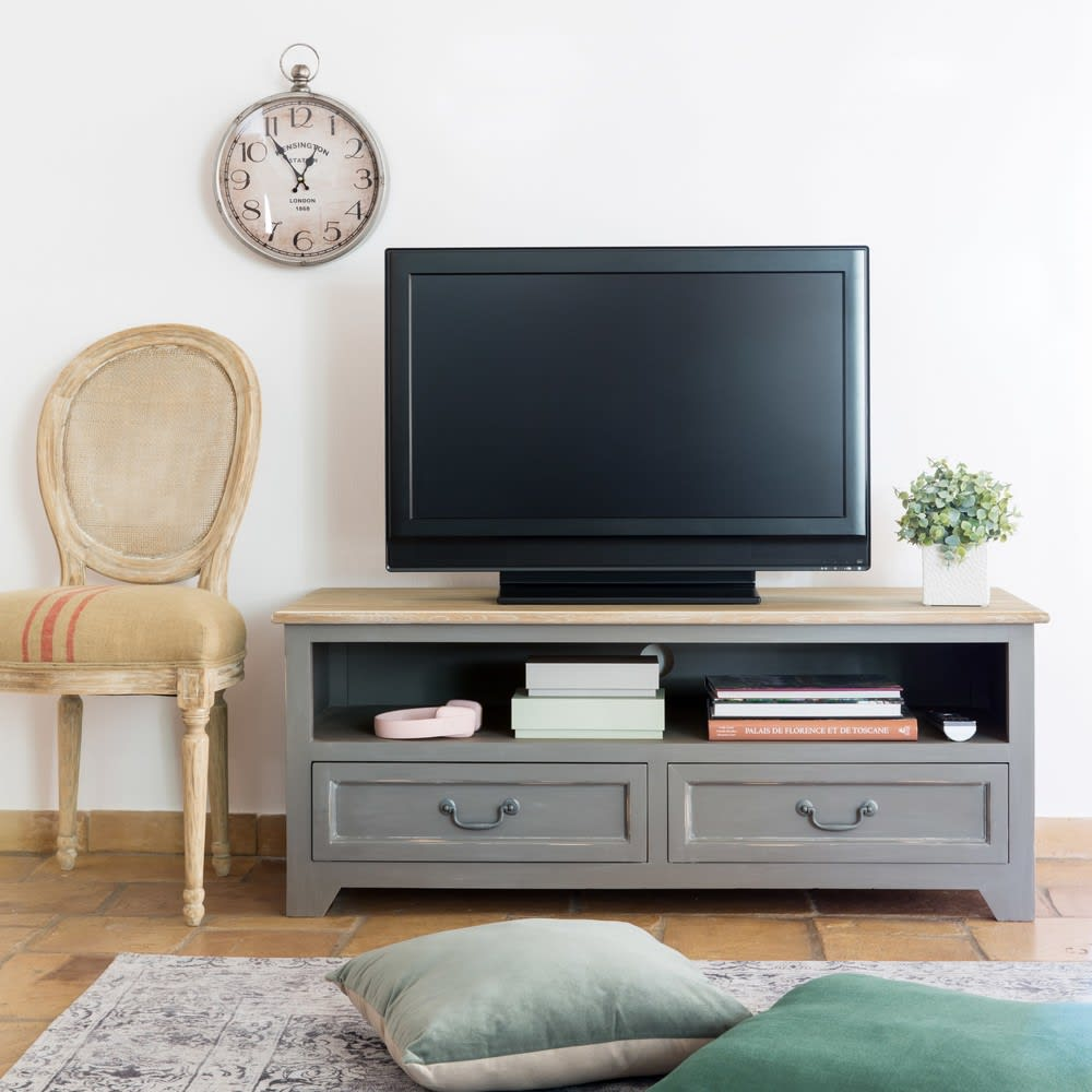 meuble tv 2 tiroirs en pin gris honorine maisons du monde. Black Bedroom Furniture Sets. Home Design Ideas