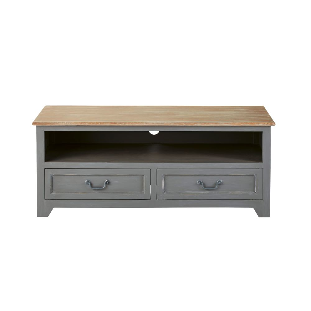 Meuble TV 2 tiroirs en pin gris