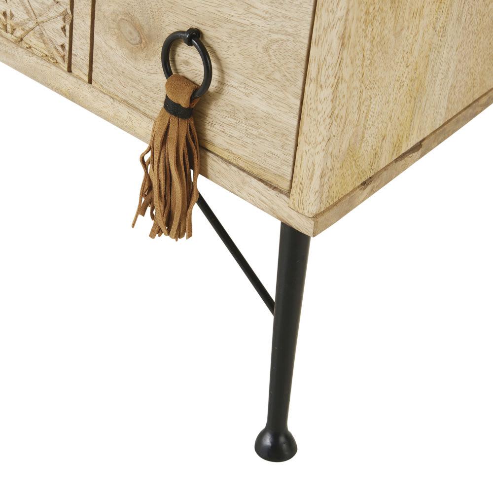 meuble tv 3 tiroirs en manguier massif iroquois maisons. Black Bedroom Furniture Sets. Home Design Ideas