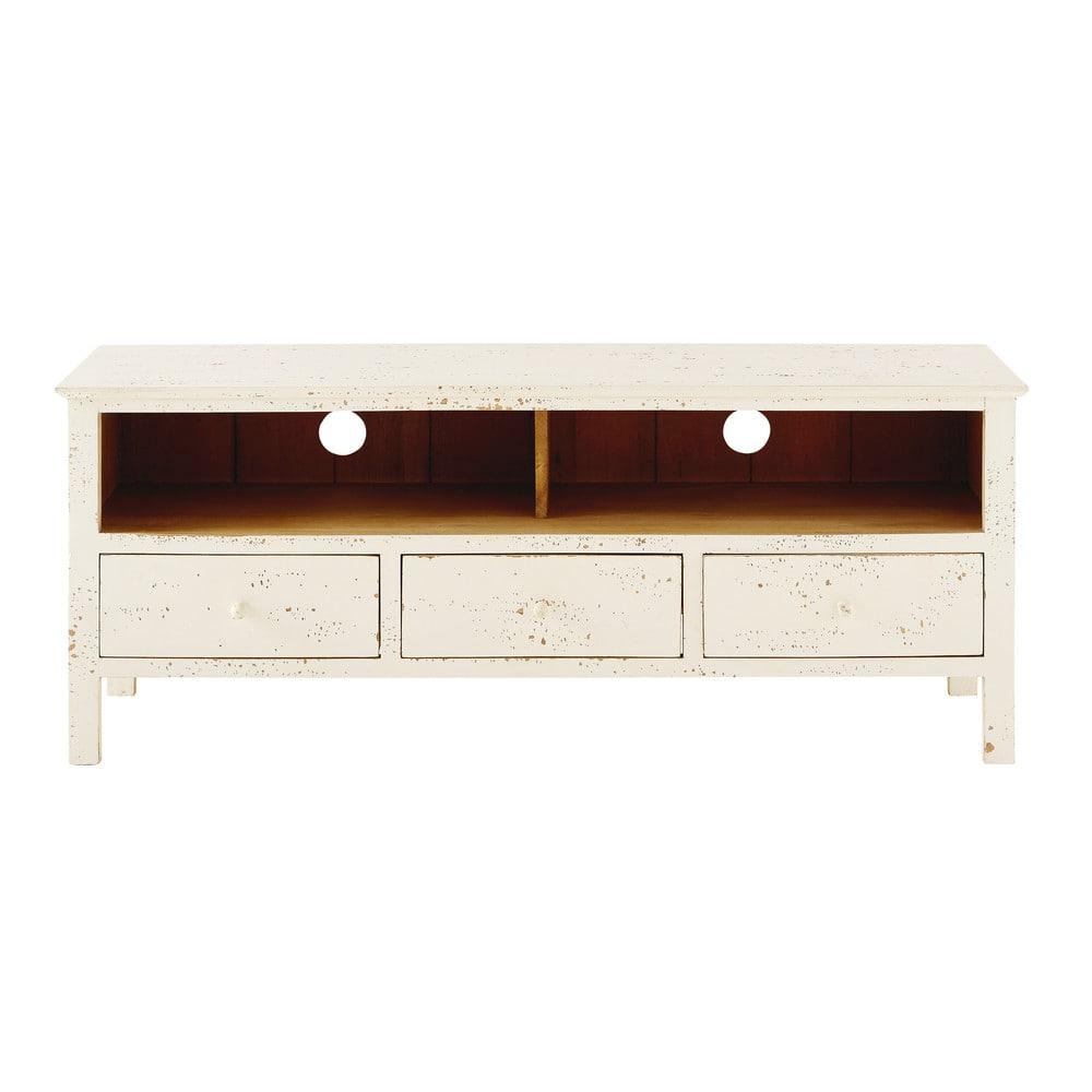 meuble tv 3 tiroirs en manguier massif blanc maisons du. Black Bedroom Furniture Sets. Home Design Ideas