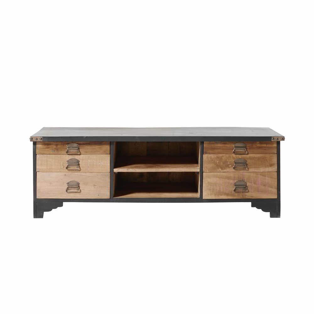 meuble tv 6 tiroirs en manguier massif noir et bois recycl s cheyenne maisons du monde. Black Bedroom Furniture Sets. Home Design Ideas