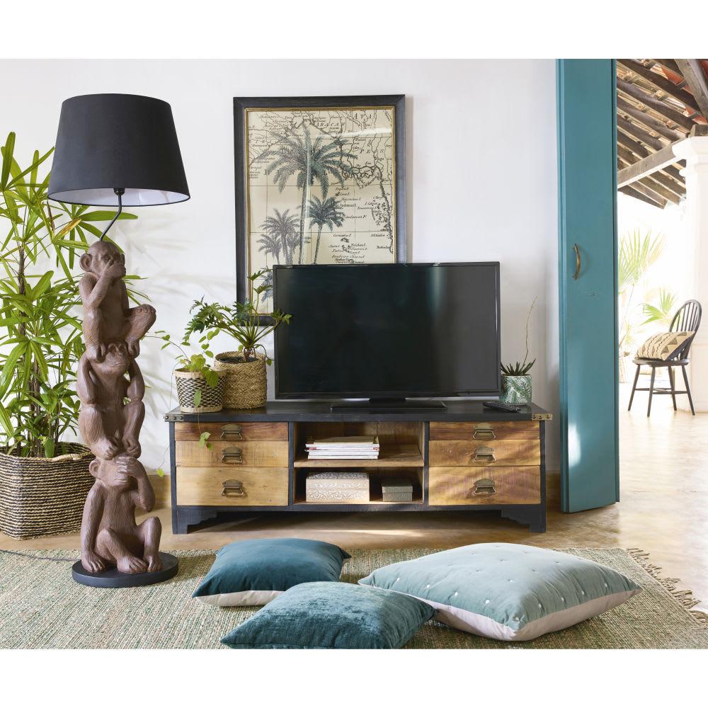 meuble tv 6 tiroirs en manguier massif noir et bois. Black Bedroom Furniture Sets. Home Design Ideas