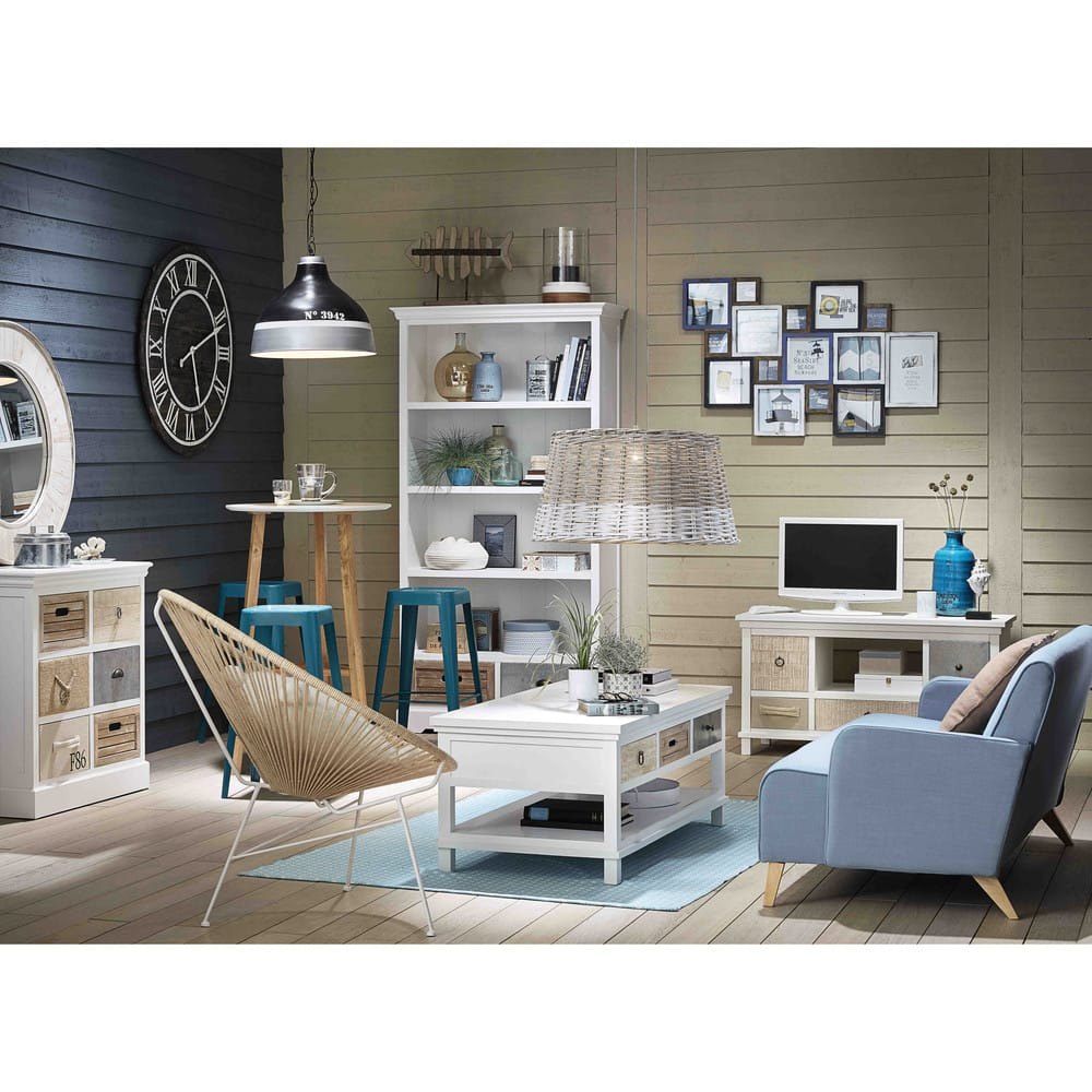 meuble tv en bois blanc l110 ouessant maisons du monde. Black Bedroom Furniture Sets. Home Design Ideas