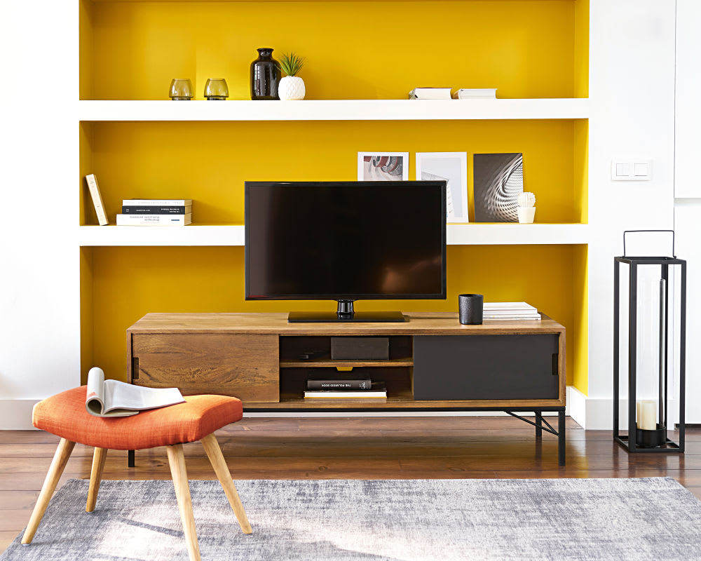 meuble tv en manguier et m tal noir arty maisons du monde. Black Bedroom Furniture Sets. Home Design Ideas
