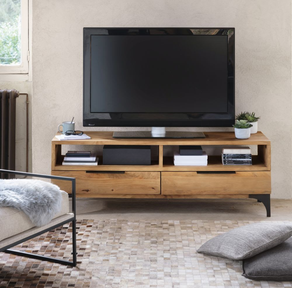 meuble tv en manguier massif metropolis maisons du monde. Black Bedroom Furniture Sets. Home Design Ideas