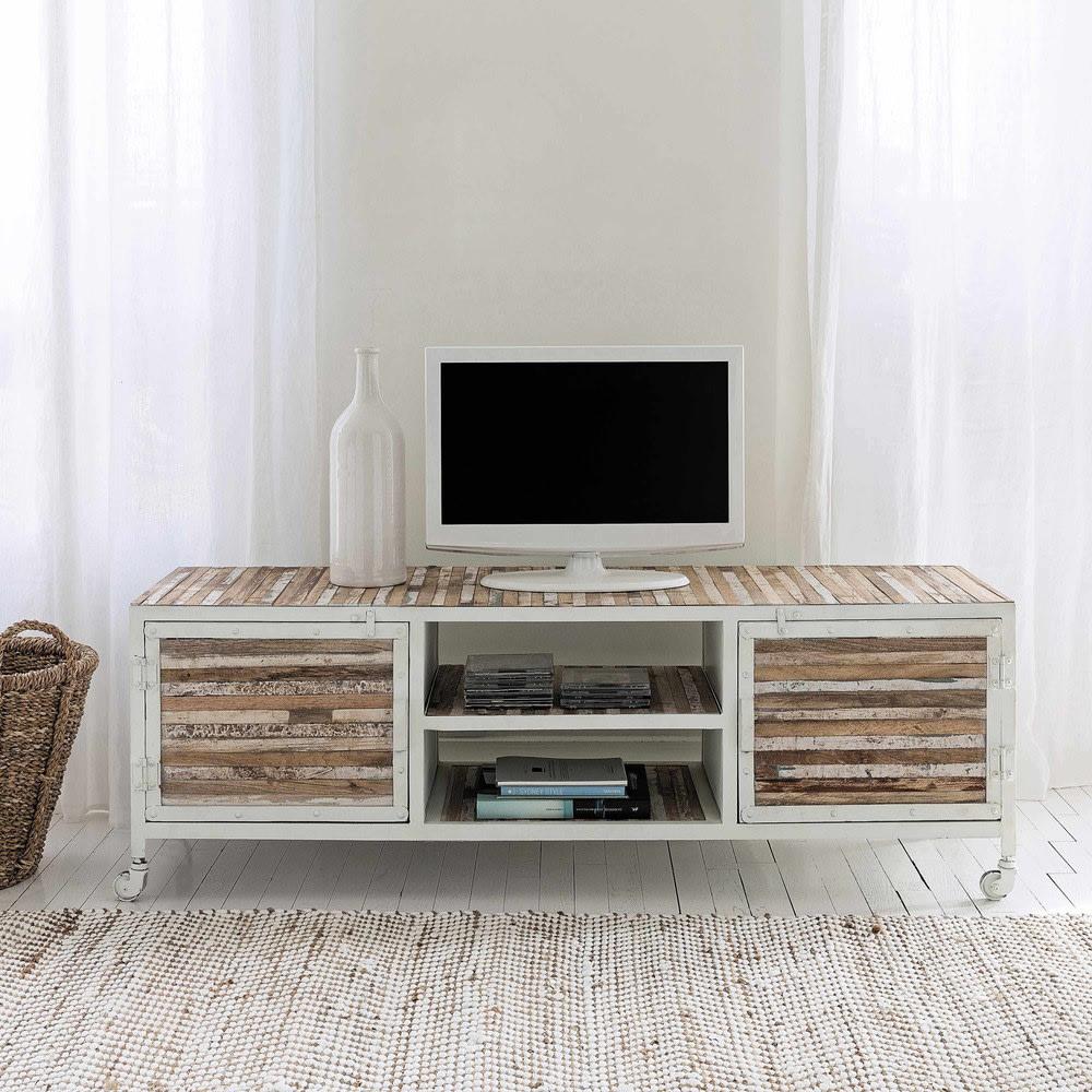 Meuble TV en métal blanc Mistral   Maisons du Monde