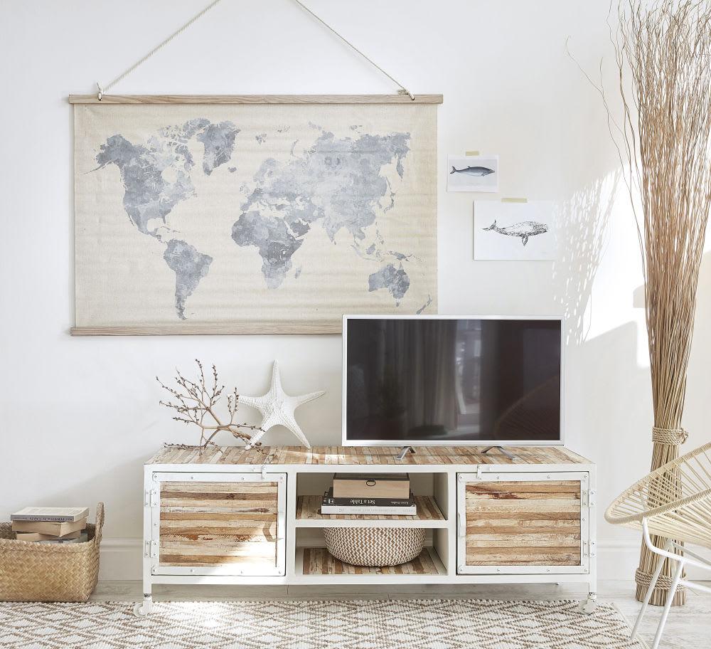 Meuble Tv En Metal Blanc Mistral Maisons Du Monde