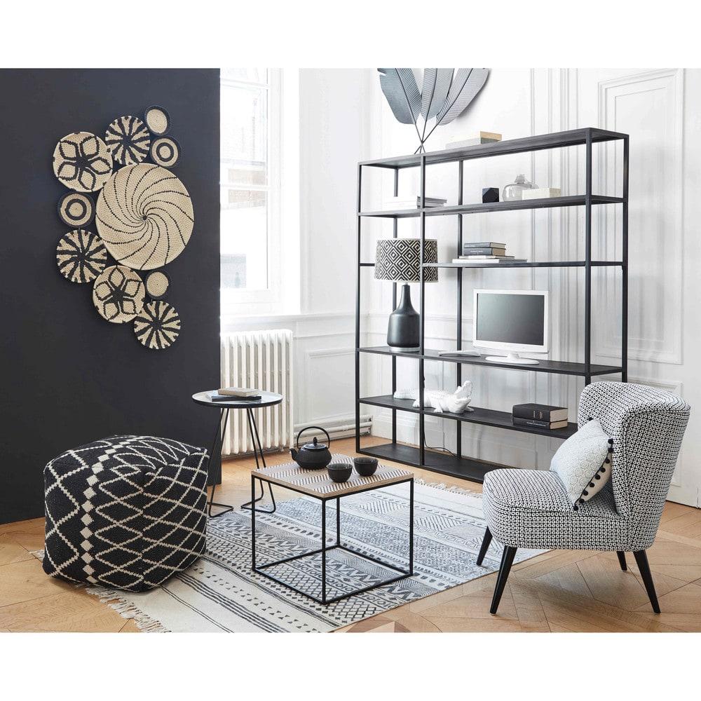 meuble tv tag re en m tal noir edison maisons du monde. Black Bedroom Furniture Sets. Home Design Ideas