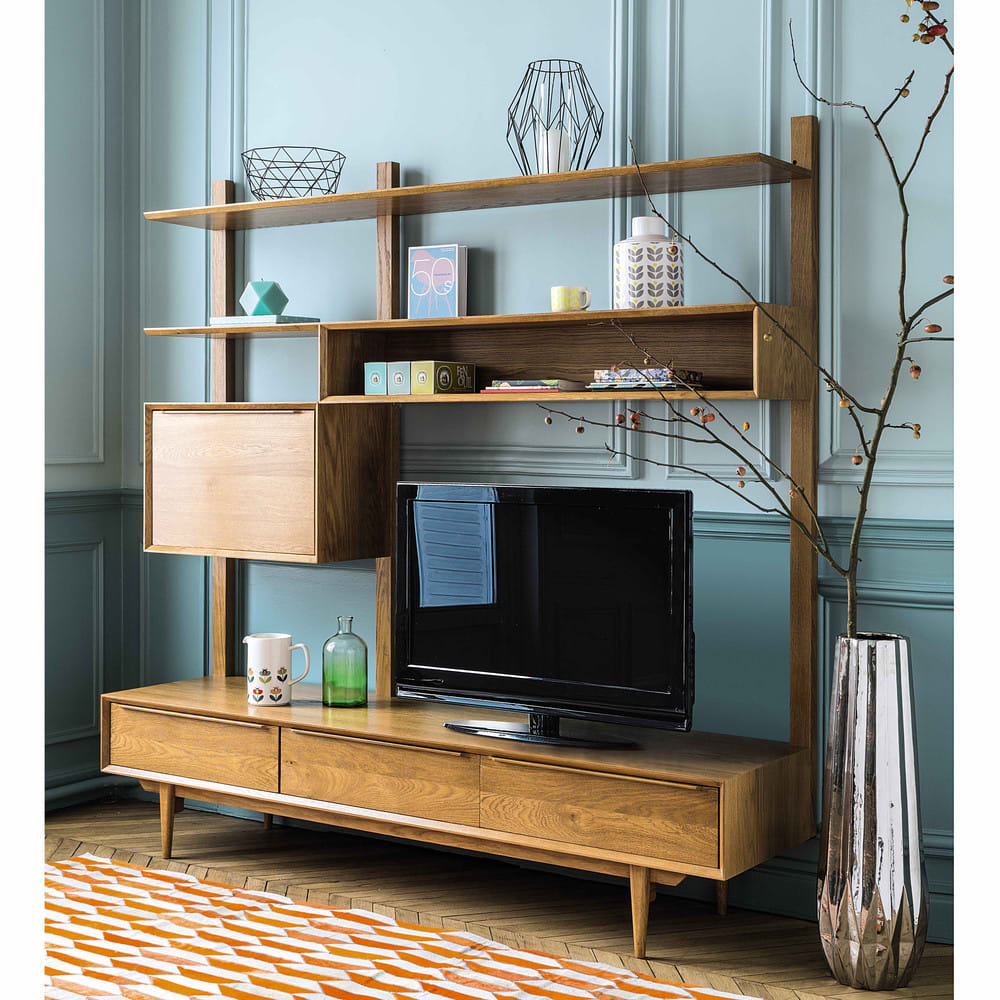 meuble tv tag re vintage en ch ne massif portobello maisons du monde. Black Bedroom Furniture Sets. Home Design Ideas