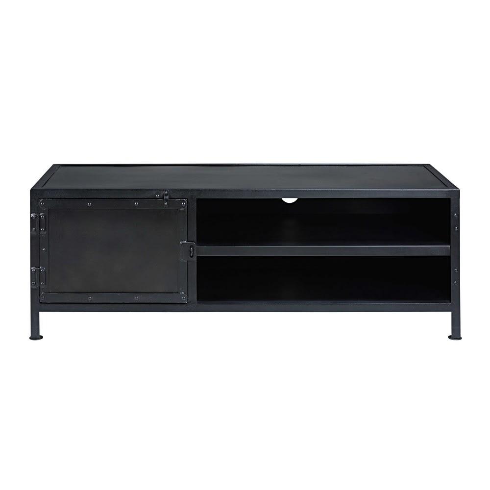 meuble tv indus 1 porte en m tal noir edison maisons du. Black Bedroom Furniture Sets. Home Design Ideas