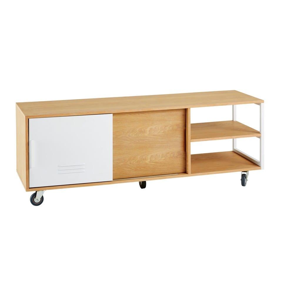 meuble tv indus roulettes 2 portes pilea maisons du monde. Black Bedroom Furniture Sets. Home Design Ideas