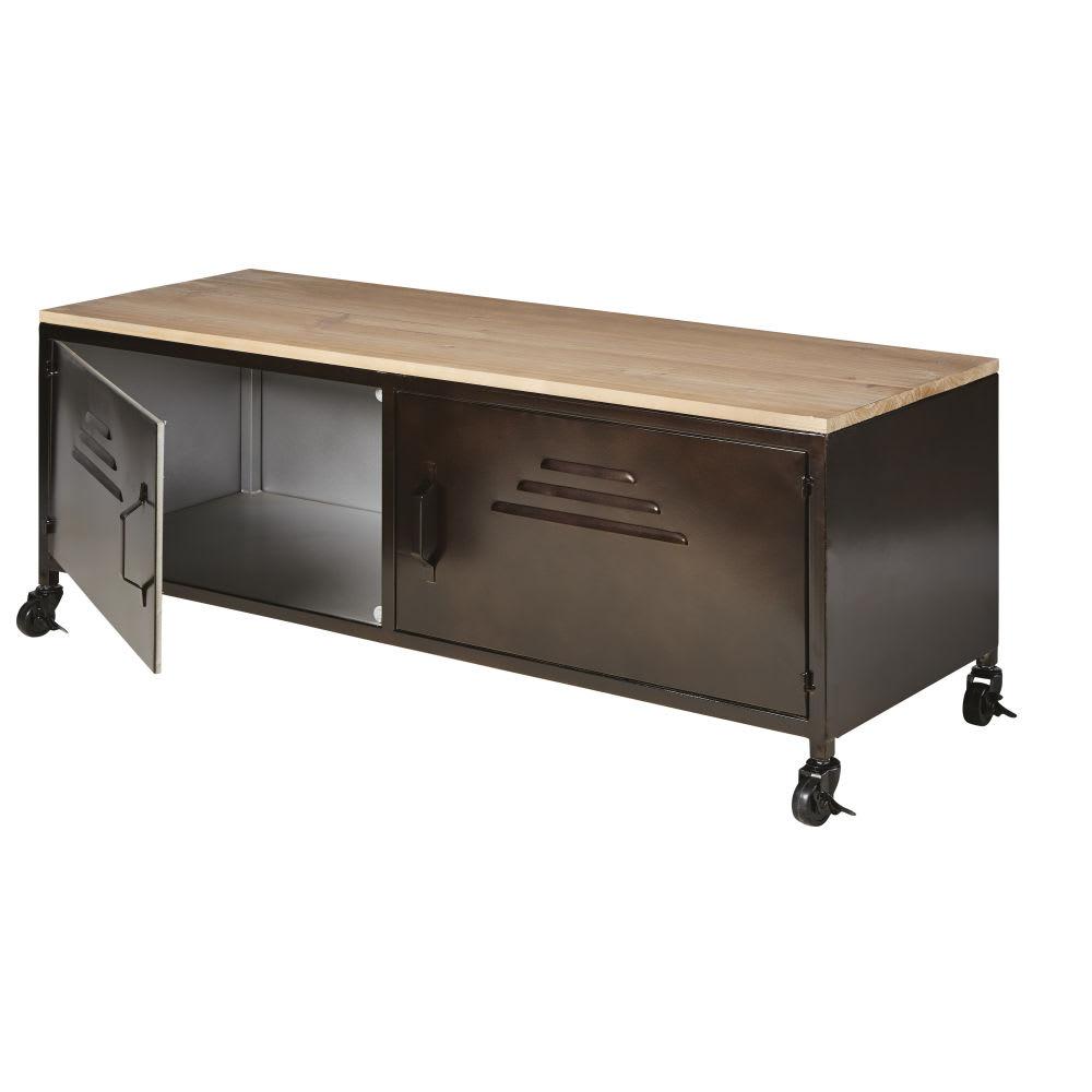 meuble tv indus roulettes en m tal et sapin wayne. Black Bedroom Furniture Sets. Home Design Ideas