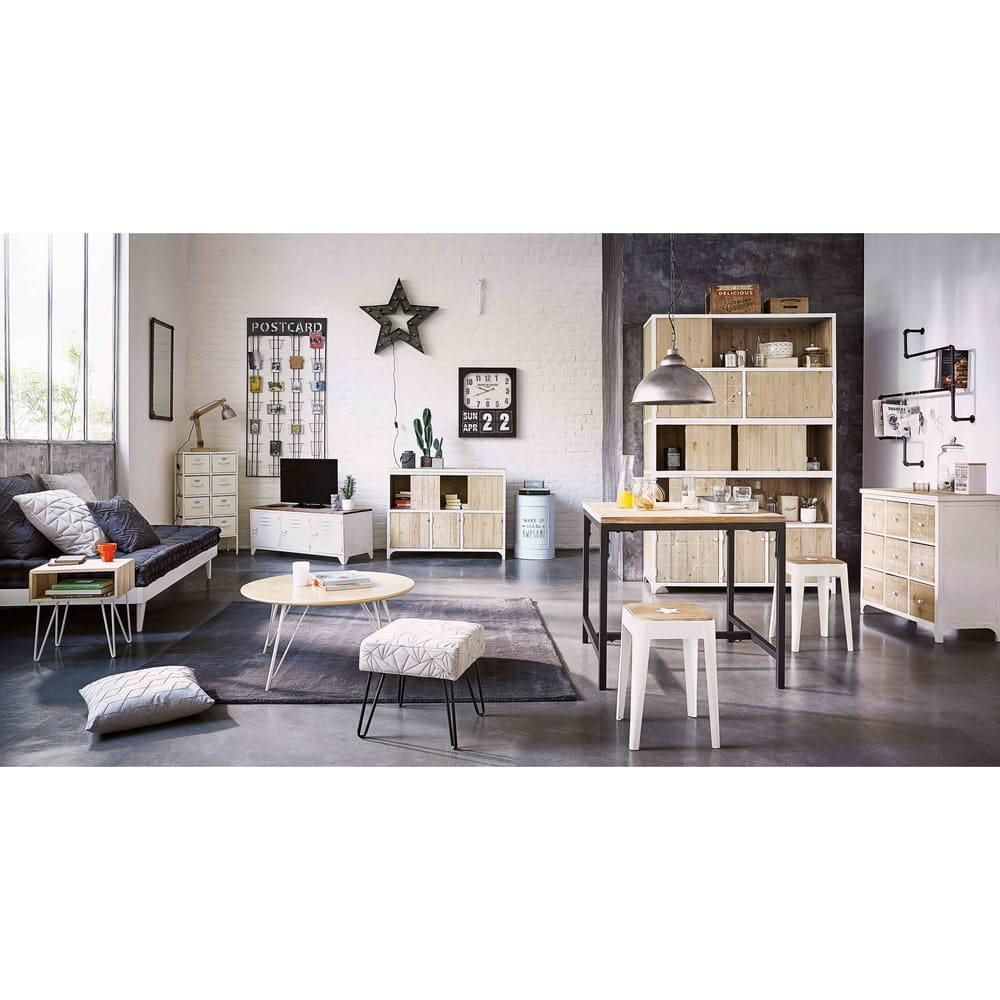 meuble tv indus en m tal blanc et sapin bruce maisons du. Black Bedroom Furniture Sets. Home Design Ideas