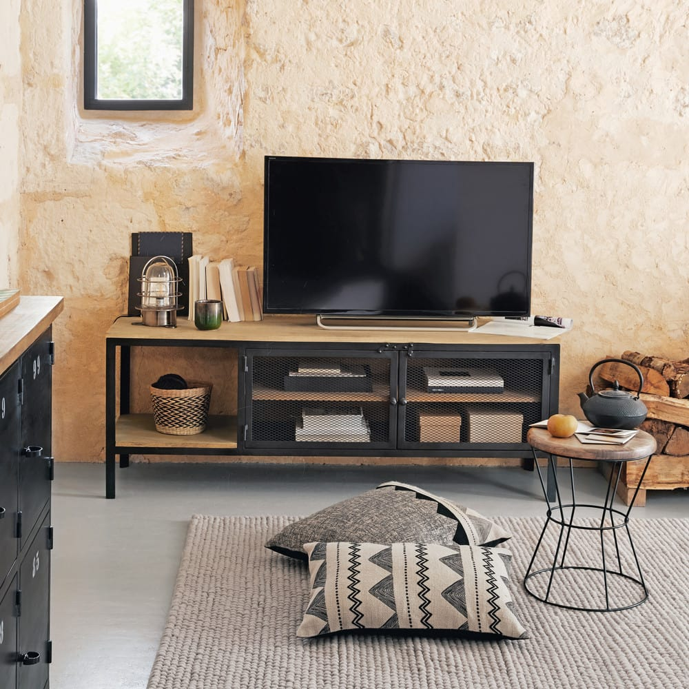 meuble tv indus en m tal noir et manguier massif century. Black Bedroom Furniture Sets. Home Design Ideas