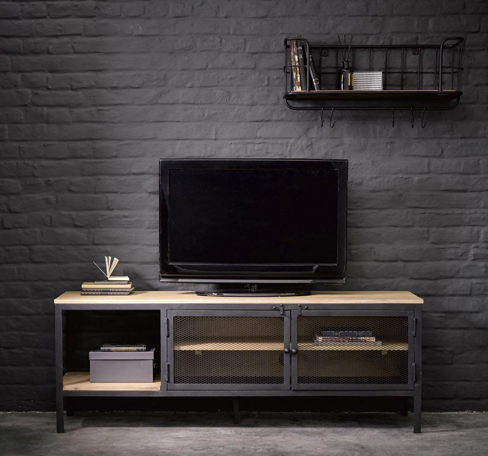 meuble tv indus en m tal noir et manguier massif century. Black Bedroom Furniture Sets. Home Design Ideas