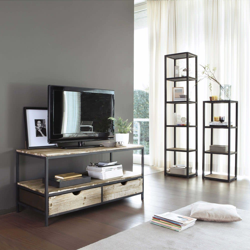 meuble tv indus en sapin massif et m tal long island. Black Bedroom Furniture Sets. Home Design Ideas