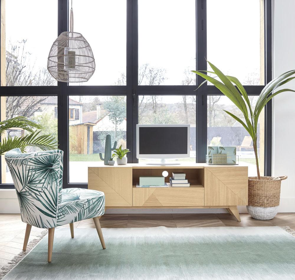 meuble tv vintage 2 portes 1 tiroir origami maisons du monde. Black Bedroom Furniture Sets. Home Design Ideas