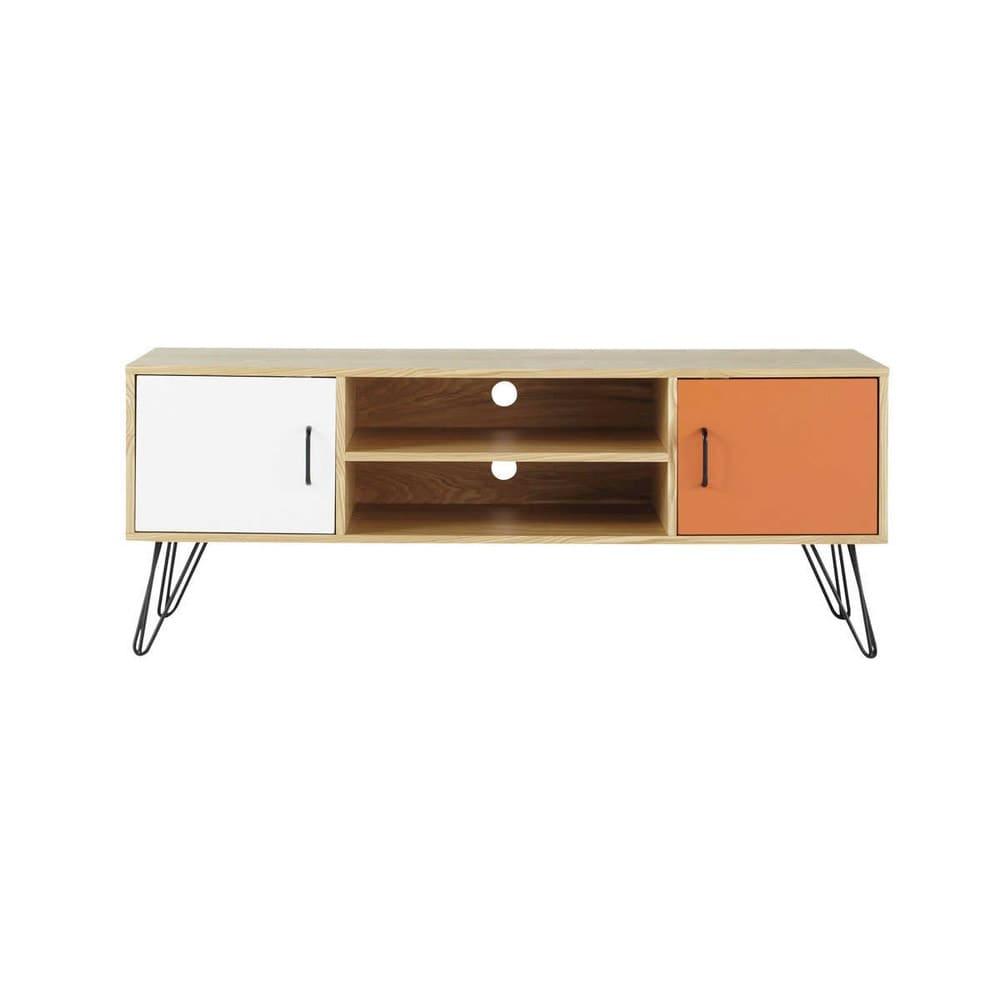 Meuble TV vintage blanc et orange Twist | Maisons du Monde