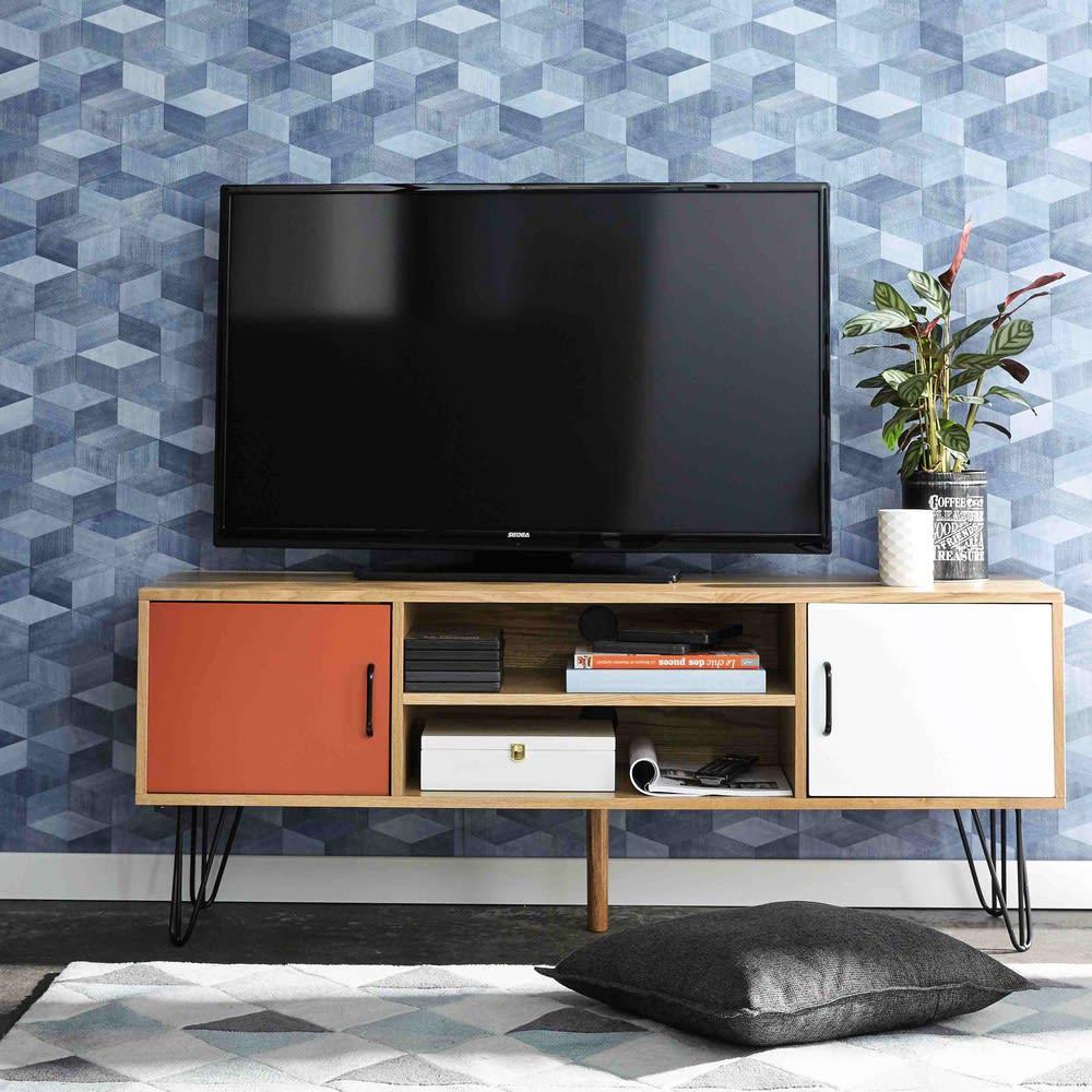 meuble tv vintage blanc et orange twist
