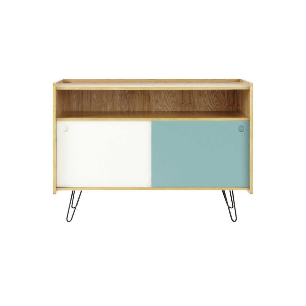 Meuble TV vintage en bois blanc et bleu L 105 cm Twist | Maisons du ...