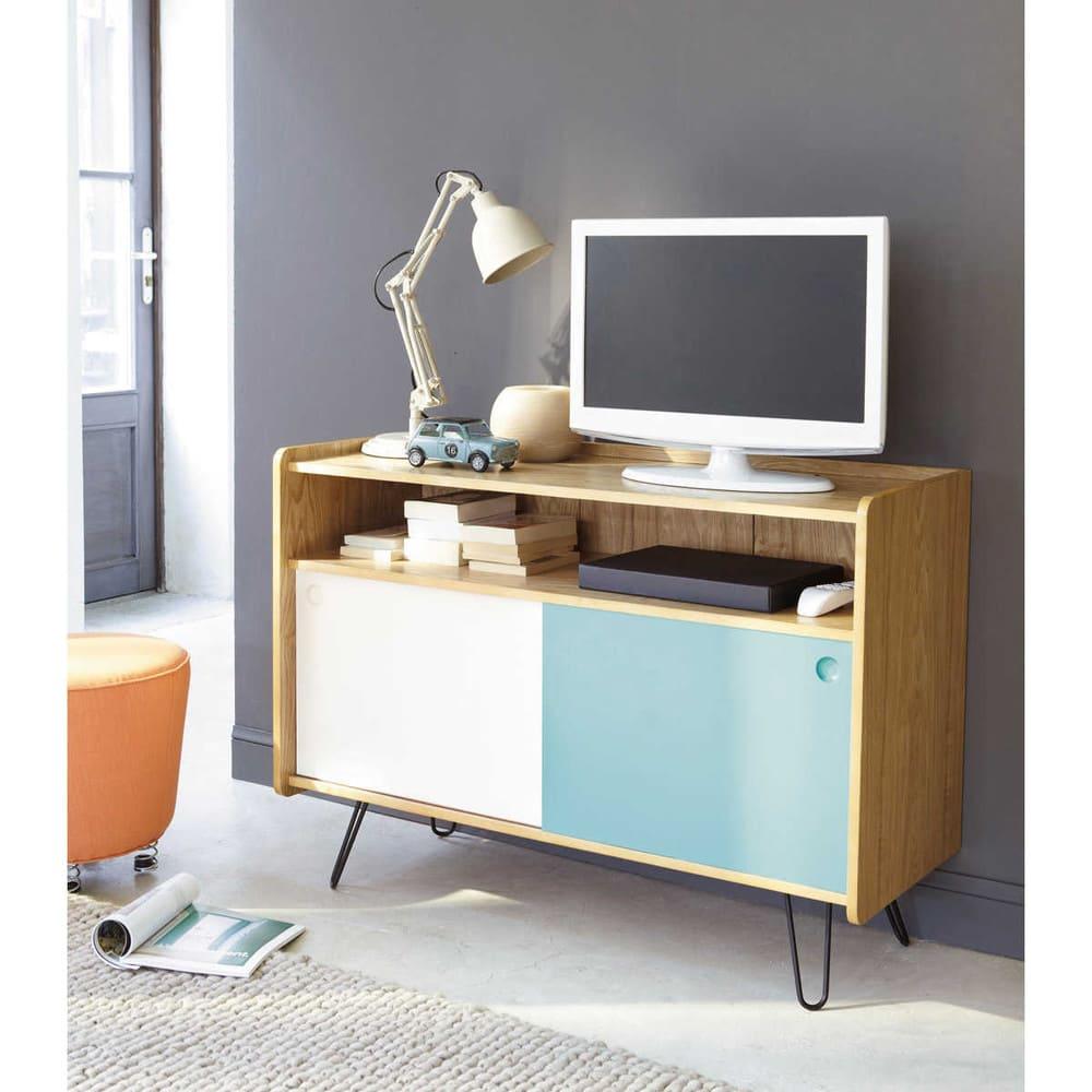 meuble tv vintage en bois blanc et bleu l 105 cm twist maisons du monde. Black Bedroom Furniture Sets. Home Design Ideas
