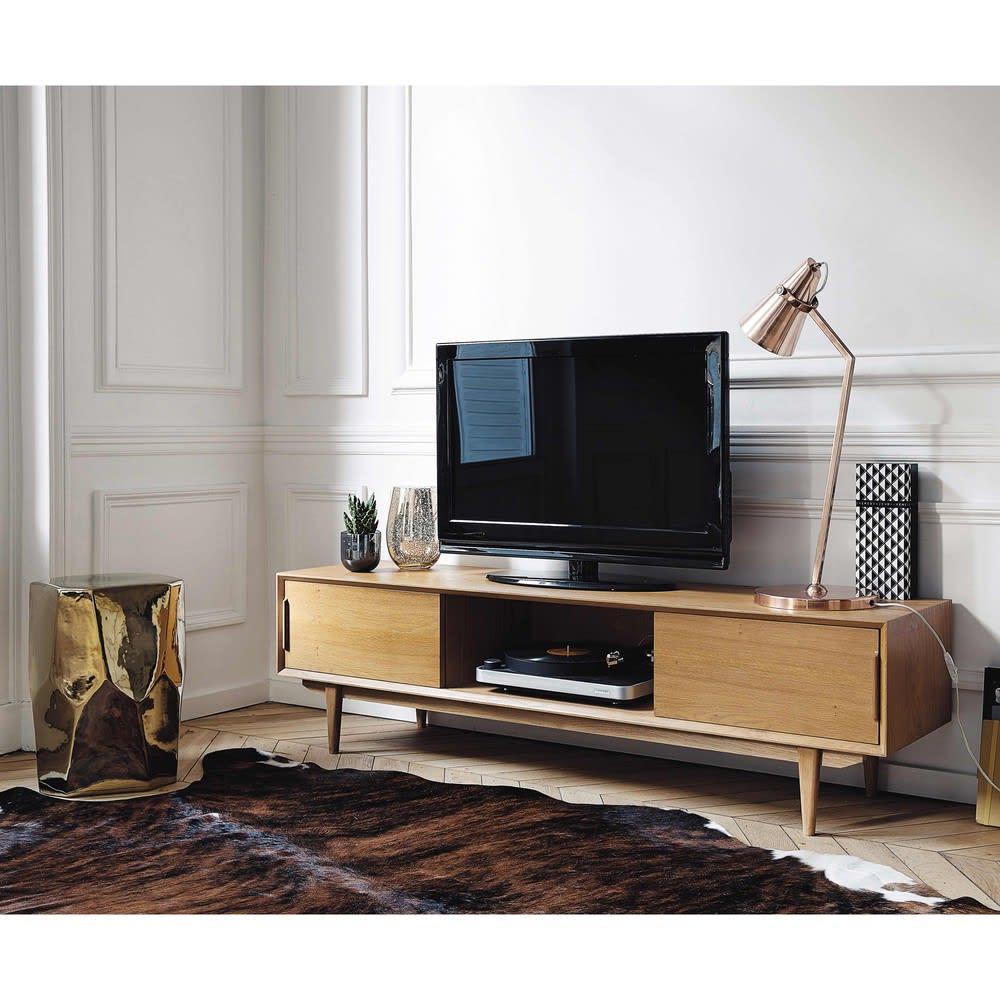 meuble tv vintage en ch ne massif portobello maisons du. Black Bedroom Furniture Sets. Home Design Ideas