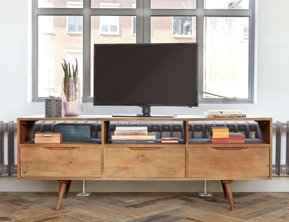 meuble tv vintage en manguier trocadero maisons du monde. Black Bedroom Furniture Sets. Home Design Ideas
