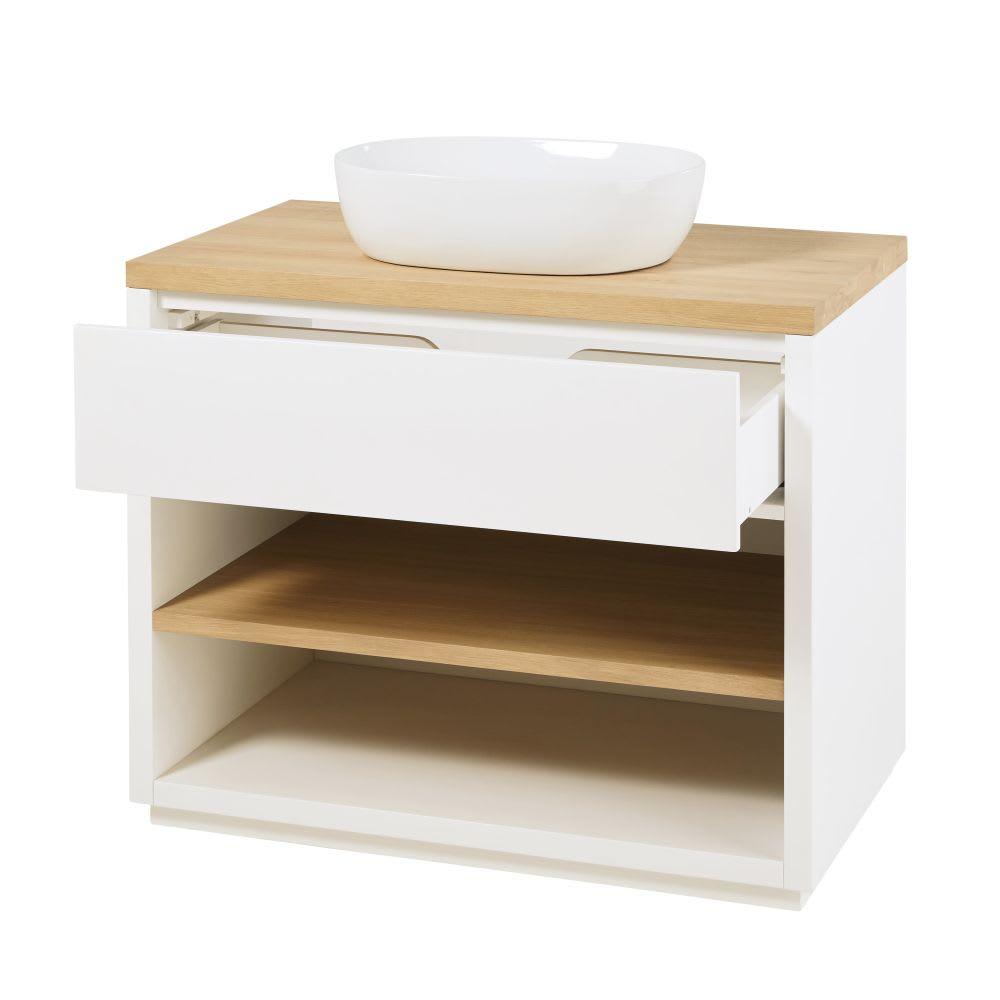 Meuble vasque 1 tiroir blanc austral maisons du monde - Meuble vasque blanc ...
