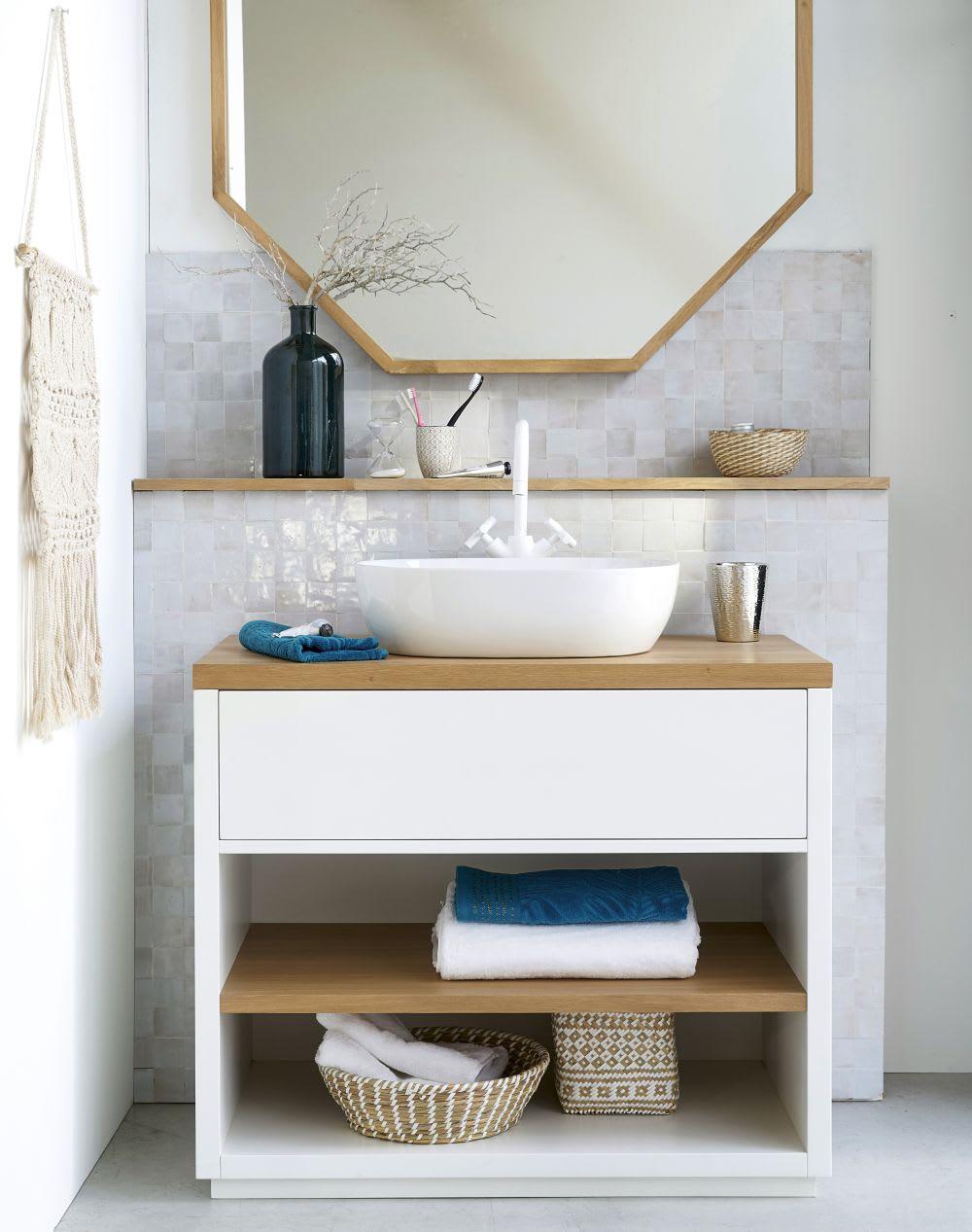 Meuble vasque 1 tiroir blanc austral maisons du monde - Meuble 1 vasque ...