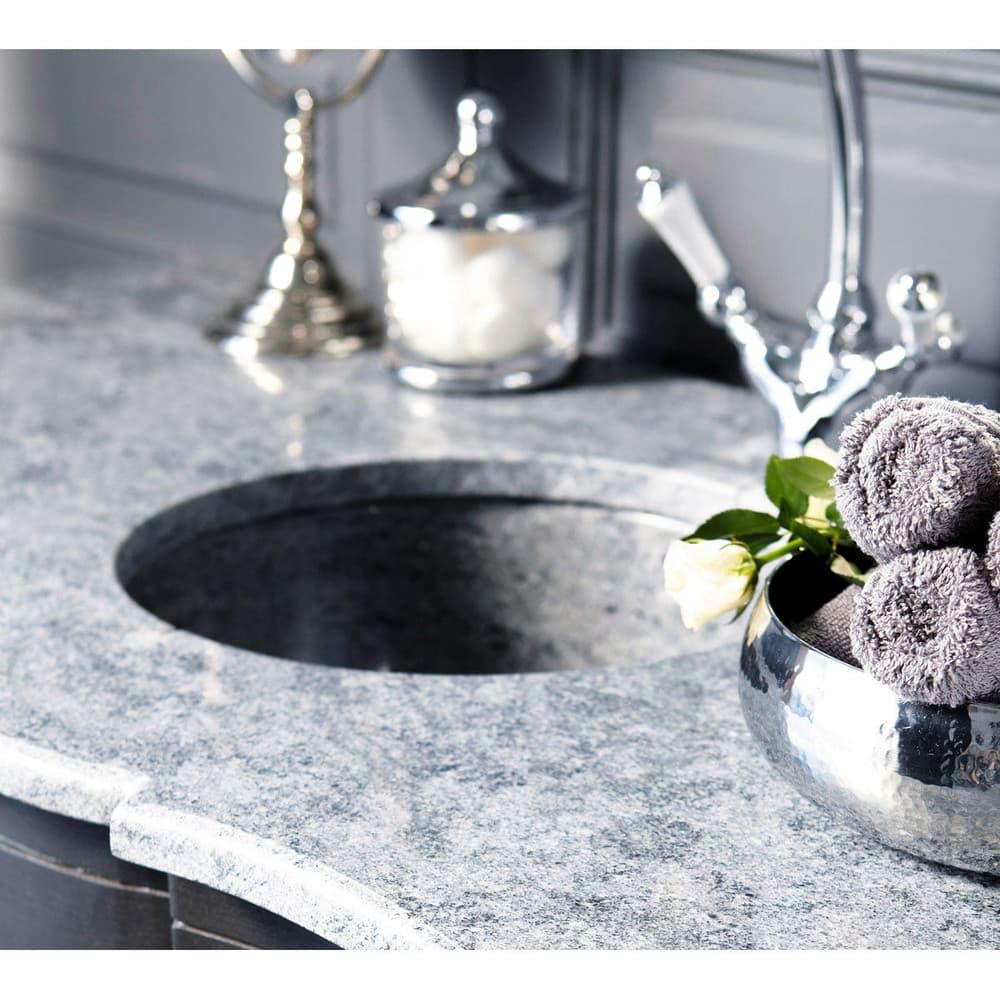 meuble vasque en manguier noir et pierre eugenie maisons. Black Bedroom Furniture Sets. Home Design Ideas