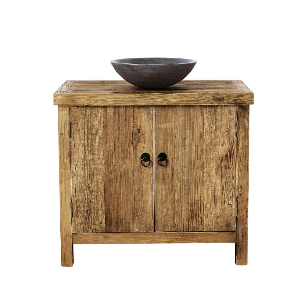 Meuble Vasque En Orme Recyclé Et Pierre Bleue Lotus