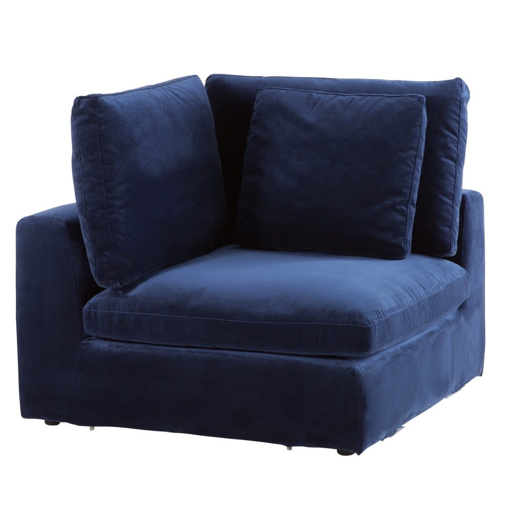 Midnight Blue Velvet Modular Corner Sofa Midnight