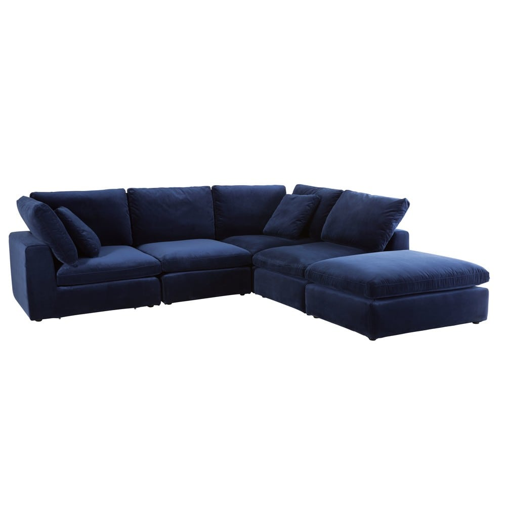 Midnight Blue Velvet Modular Sofa Pouffe Midnight