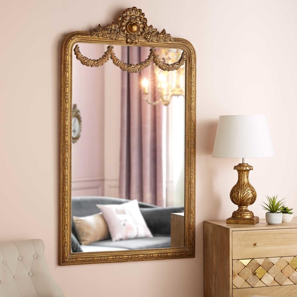 imperatrice - miroir à moulures dorées 90x161