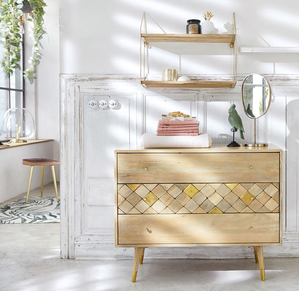miroir poser en m tal dor 21x44 montebello maisons du. Black Bedroom Furniture Sets. Home Design Ideas