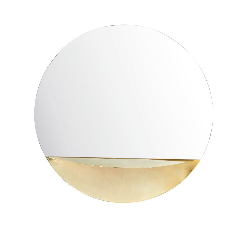 Miroir Avec Tablette En Métal Doré D80