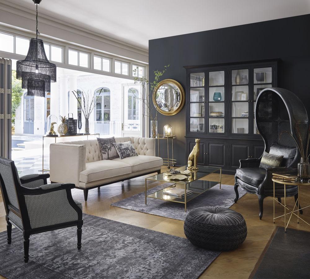 miroir convexe en paulownia en m tal dor effet vieilli. Black Bedroom Furniture Sets. Home Design Ideas