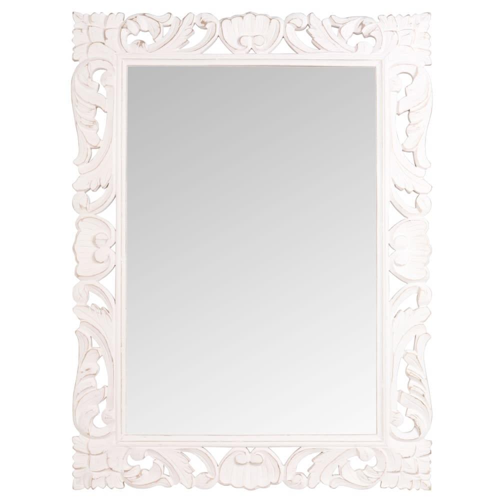 miroir en manguier blanc 70x96 andawala maisons du monde. Black Bedroom Furniture Sets. Home Design Ideas