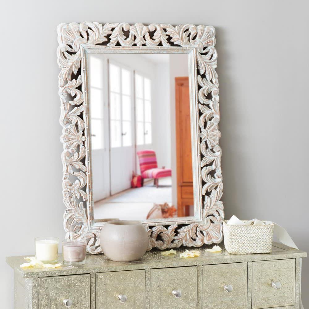 Miroir en manguier blanchi 60x80 kyara maisons du monde for Miroir 60x80