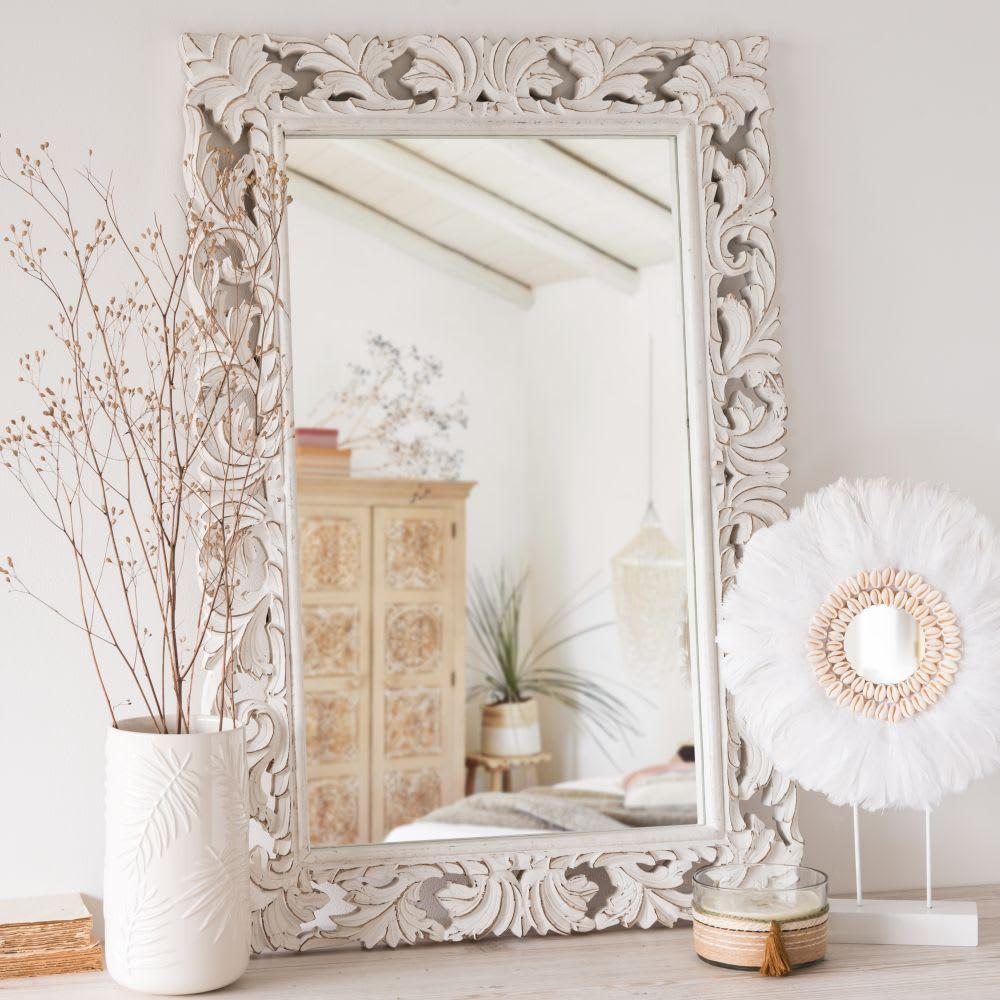miroir en manguier sculpt blanc 60x90 lombok maisons du. Black Bedroom Furniture Sets. Home Design Ideas