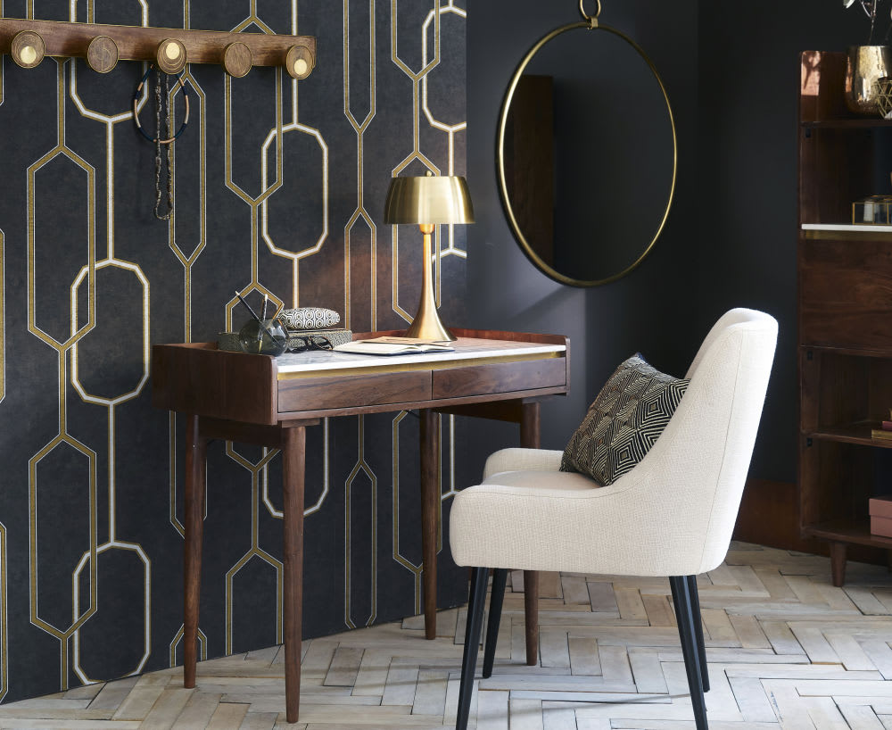miroir en m tal dor 80x89 pasadena maisons du monde. Black Bedroom Furniture Sets. Home Design Ideas