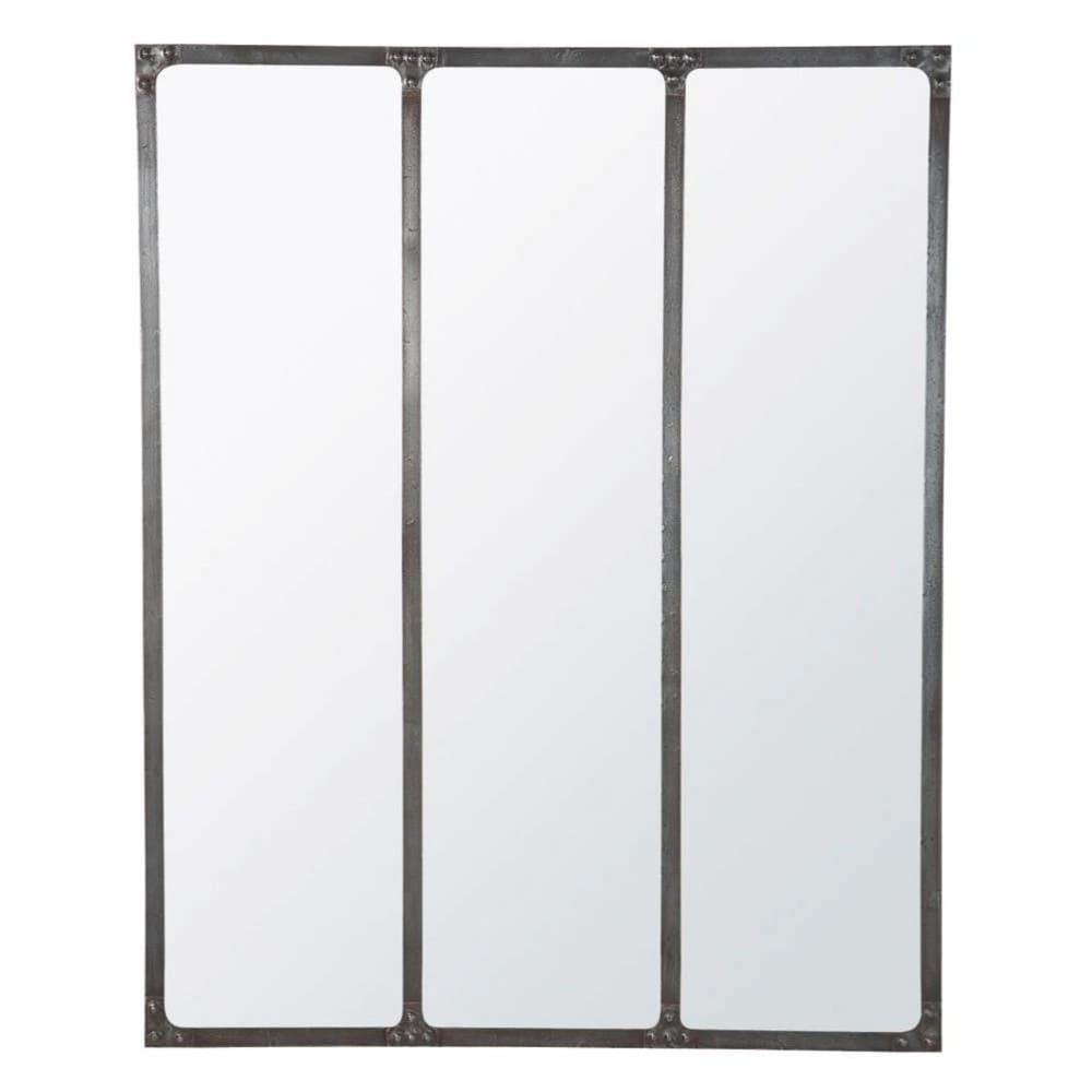 Miroir en m tal effet vieilli 95x120 cargo maisons du monde for Miroir metal vieilli
