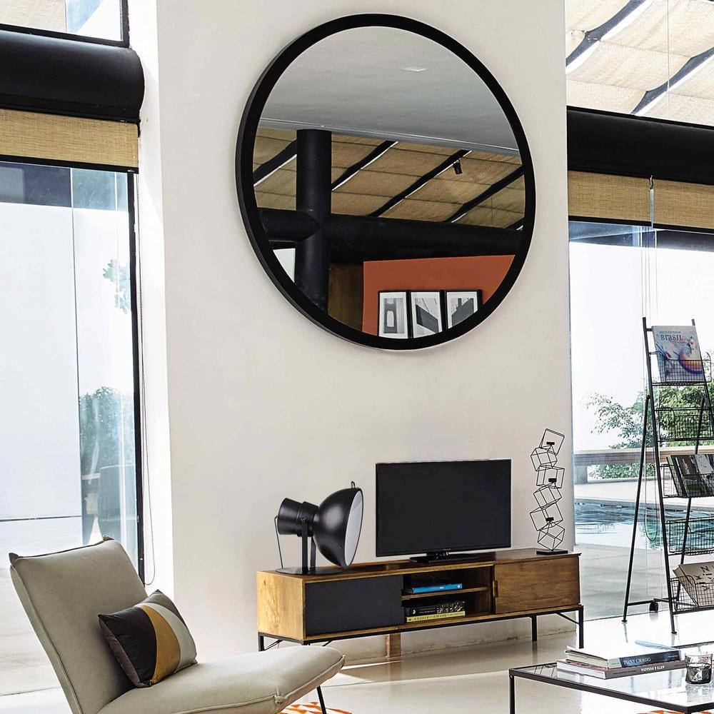 stratford - miroir en métal noir d159